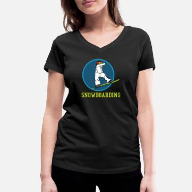 Snowboard Nice Snowboard ride drawing gift gift ideas - Women's Organic V-Neck T-Shirt