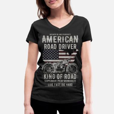 Chopper Motorcycle Motorcyclist Chopper America Gift - Women's Organic V-Neck T-Shirt