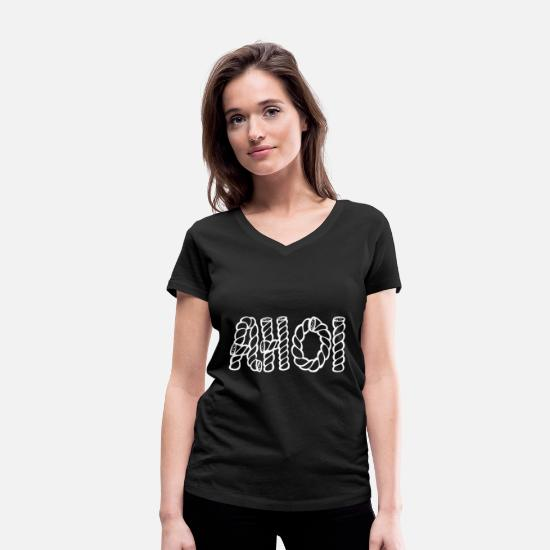 Dialect T-Shirts - Ahoy in writing - Seafaring - Sea - - Women's Organic V-Neck T-Shirt black