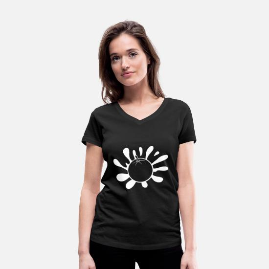 Food T-Shirts - orange - Women's Organic V-Neck T-Shirt black