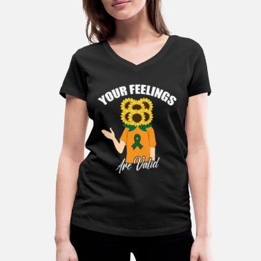 Health Feelings are positive thoughts Sunflower brave - Women's Organic V-Neck T-Shirt