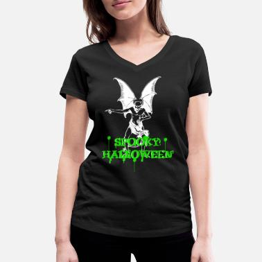 Move Devil with spooky nasty Halloween lettering - Women's Organic V-Neck T-Shirt