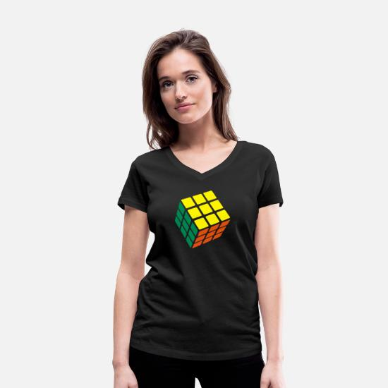 Cube T-Shirts - Rubik's Cube Solved - Women's Organic V-Neck T-Shirt black