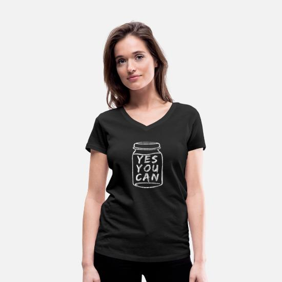 Save T-Shirts - Canned tin can. Cans. Canning jars - Women's Organic V-Neck T-Shirt black
