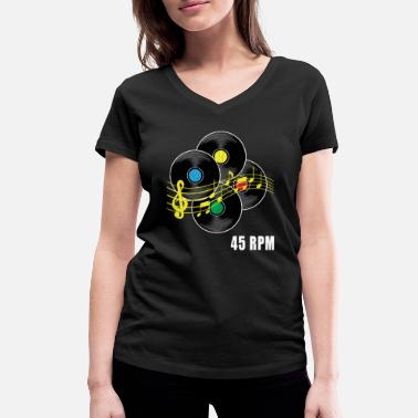 Records 45 RPM record Hipster Record LP record - Women's Organic V-Neck T-Shirt