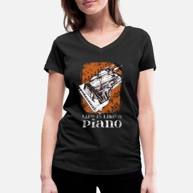 Piano Piano pianist musical instrument - Women's Organic V-Neck T-Shirt