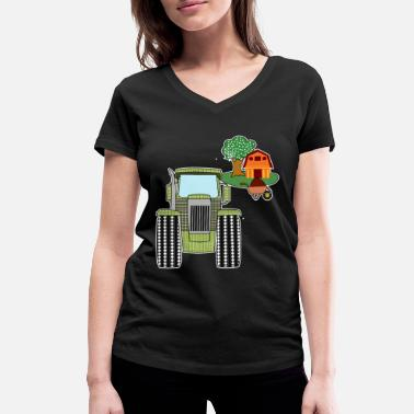 Toddler Tractor agriculture farmyard barn gift - Women's Organic V-Neck T-Shirt