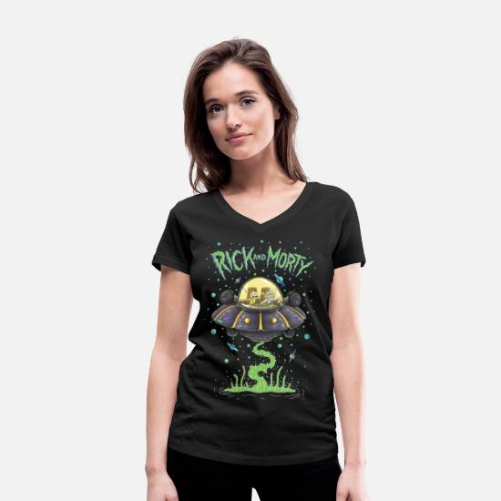 Cool T-Shirts - Rick And Morty Spaceship Illustration - Women's Organic V-Neck T-Shirt black