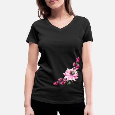 Accent Rose floral accent - Women's Organic V-Neck T-Shirt