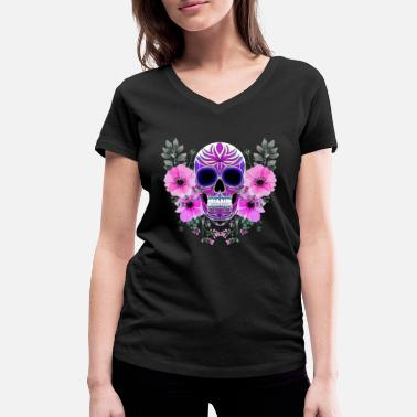 Skull Skull day of the Dead Skull - Frauen Bio T-Shirt mit V-Ausschnitt