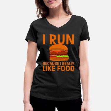 Running Run Burgers Cheeseburger Foodie Fat Eating - T-shirt bio col V Femme