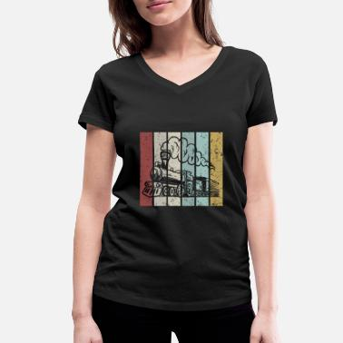 Railway Station Railroad Vintage Retro Classic - Women's Organic V-Neck T-Shirt