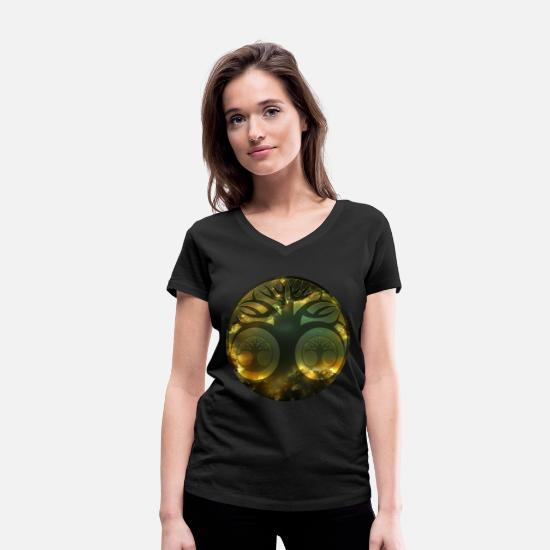 Love T-Shirts - Tree of Galaxy - Women's Organic V-Neck T-Shirt black