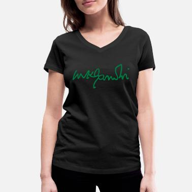 India gandhi signature - Women's Organic V-Neck T-Shirt
