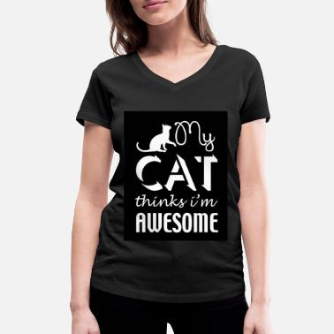 Iam Awesome cat thinks iam awesome - Frauen Bio T-Shirt mit V-Ausschnitt