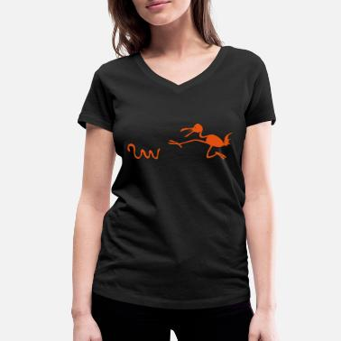 Poursuite course poursuite - T-shirt bio col V Femme