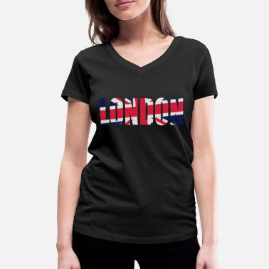 London Union Jack Flagge London Union Jack - Frauen Bio T-Shirt mit V-Ausschnitt