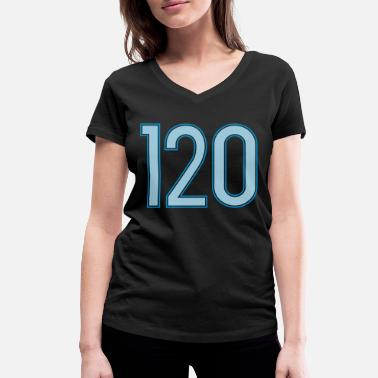 Twenty 120, Hundertzwanzig, Hundred Twenty, Pelibol ™ - Ekologisk T-shirt med V-ringning dam