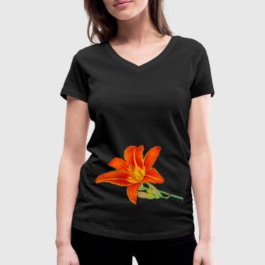 Orange lily - Women's Organic V-Neck T-Shirt by Stanley & Stella