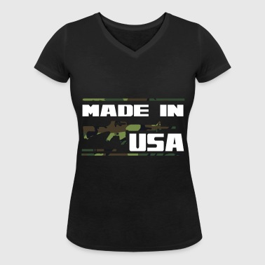 USA m16 camo - Women's Organic V-Neck T-Shirt by Stanley & Stella