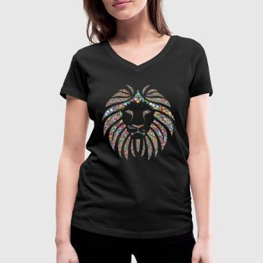 Lion's head colorful - Women's Organic V-Neck T-Shirt by Stanley & Stella