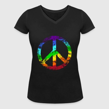 Peace Sign Rainbow Rainbow Peace Graffiti - Women's Organic V-Neck T-Shirt by Stanley & Stella