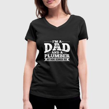 DAD AND A PLUMBER - Women's Organic V-Neck T-Shirt by Stanley & Stella