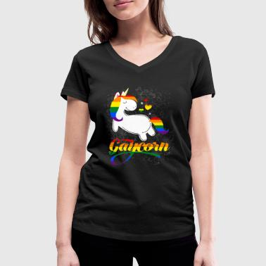 Gaycorn - Gay Unicorn - Women's Organic V-Neck T-Shirt by Stanley & Stella