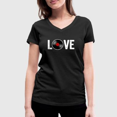 Vinyl records Love - Women's Organic V-Neck T-Shirt by Stanley & Stella