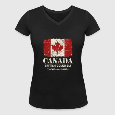 Canada Flag - Vintage Look - Women's Organic V-Neck T-Shirt by Stanley & Stella