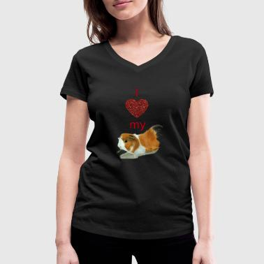 I love my guinea pig - Women's Organic V-Neck T-Shirt by Stanley & Stella