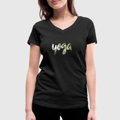 Yoga lettering bamboo - Women's Organic V-Neck T-Shirt by Stanley & Stella