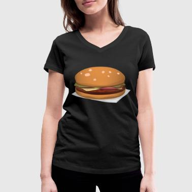 Hamburger in comic style - Women's Organic V-Neck T-Shirt by Stanley & Stella