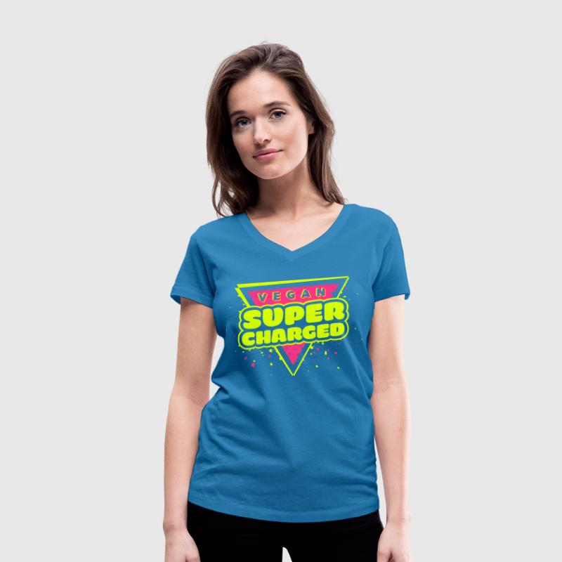 Vegan Supercharged - Women's Organic V-Neck T-Shirt by Stanley & Stella