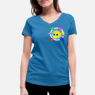Happy Fish Happy fish - Women's Organic V-Neck T-Shirt by Stanley & Stella