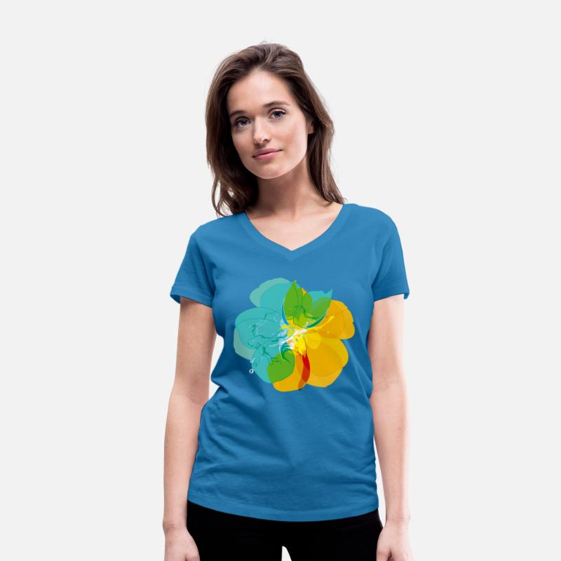 Collection T-Shirts - color noise - Women's Organic V-Neck T-Shirt peacock-blue