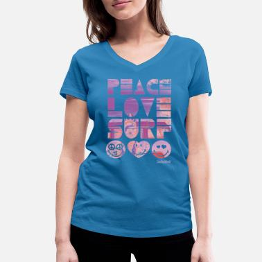 Officialbrands SmileyWorld 'Peace Love Surf' teenager t-shirt - T-shirt ecologica da donna con scollo a V di Stanley & Stella