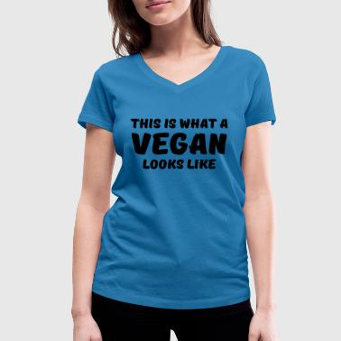This is what a vegan looks like - Ekologisk T-shirt med V-ringning dam från Stanley & Stella