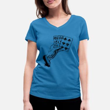 Gift Card Playing Cards Cards Poker Gift - Women's Organic V-Neck T-Shirt by Stanley & Stella