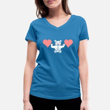 Muscle Bear Muscle teddy with heart dumbbell - Women's Organic V-Neck T-Shirt by Stanley & Stella