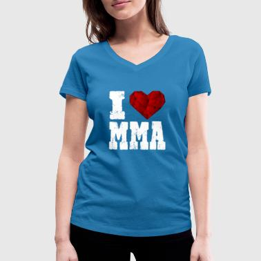 I Love Mma MMA i love spruch heart love love hiking - Women's Organic V-Neck T-Shirt by Stanley & Stella