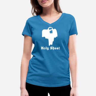 Holy Ghost Halloween ghost Holy Sheet - Women's Organic V-Neck T-Shirt by Stanley & Stella