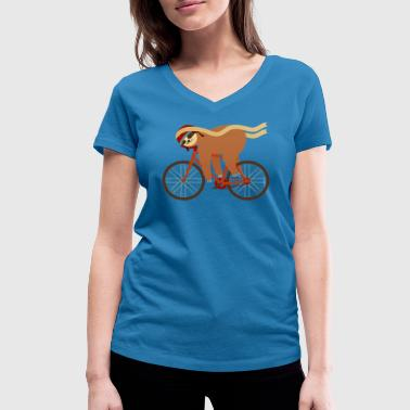 Sloth Sleeping On Bicycle - Women's Organic V-Neck T-Shirt by Stanley & Stella