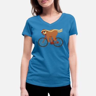 Collection For Kids Sloth Sleeping On Bicycle - Women's Organic V-Neck T-Shirt