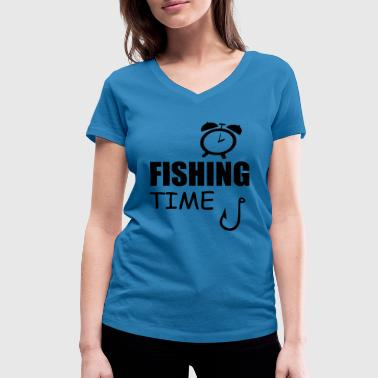 Timelord fishing time - Women's Organic V-Neck T-Shirt by Stanley & Stella