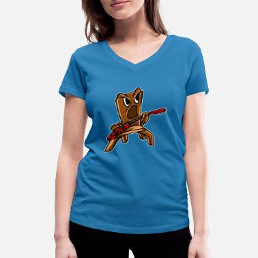 Rocking Chair Rocking Chair Funny Musician Player Music Guitaris - Women's Organic V-Neck T-Shirt by Stanley & Stella