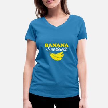 Blowjob blazen Banana swallower gift Perverted Blowjob - Vrouwen bio T-shirt met V-hals van Stanley & Stella