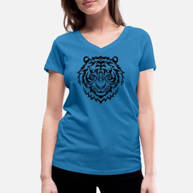 Flame Cats Tiger Flame - Women's Organic V-Neck T-Shirt by Stanley & Stella