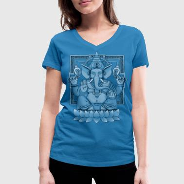 Ganesha Distressed - Women's Organic V-Neck T-Shirt by Stanley & Stella