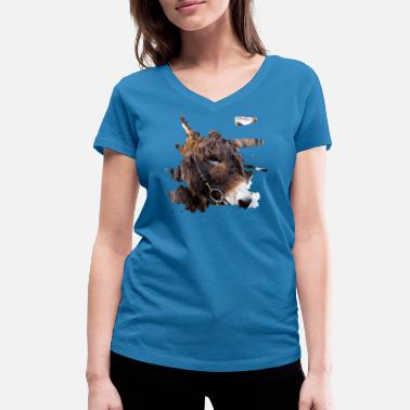 Shaggy Another donkey with a shaggy coat - Women's Organic V-Neck T-Shirt by Stanley & Stella